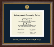 Quinsigamond Community College Diploma Frame - Gold Engraved Medallion Diploma Frame in Hampshire