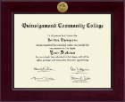 Quinsigamond Community College Diploma Frame - Century Gold Engraved Diploma Frame in Cordova