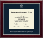 Quinsigamond Community College Diploma Frame - Silver Embossed Diploma Frame in Gallery Silver