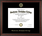 Gustavus Adolphus College Diploma Frame - Gold Embossed Diploma Frame in Studio