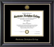 Gustavus Adolphus College Diploma Frame - Gold Engraved Medallion Diploma Frame in Midnight