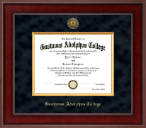Gustavus Adolphus College Diploma Frame - Presidential Gold Engraved Diploma Frame in Jefferson