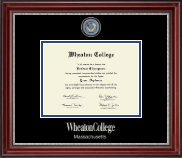 Wheaton College in Massachusetts Diploma Frame - Masterpiece Medallion Diploma Frame in Kensington Silver