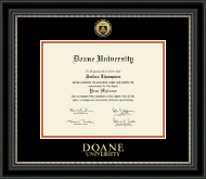 Doane University Diploma Frame - Gold Engraved Medallion Diploma Frame in Noir