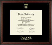 Doane University Diploma Frame - Gold Embossed Diploma Frame in Studio