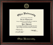 Ohio University Diploma Frame - Gold Embossed Diploma Frame in Studio
