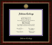 Albion College Diploma Frame - Gold Engraved Medallion Diploma Frame in Murano