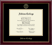 Albion College Diploma Frame - Gold Embossed Diploma Frame in Gallery