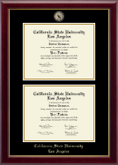 California State University Los Angeles Diploma Frame - Masterpiece Medallion Double Diploma Frame in Gallery