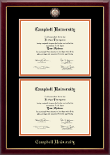 Campbell University Diploma Frame - Masterpiece Medallion Double Diploma Frame in Gallery