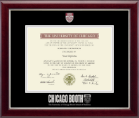 University of Chicago Booth School of Business Diploma Frame - Masterpiece Medallion Diploma Frame in Gallery Silver