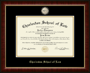 Charleston School of Law Diploma Frame - Masterpiece Medallion Diploma Frame in Murano