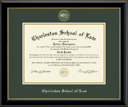 Charleston School of Law Diploma Frame - Gold Embossed Diploma Frame in Onyx Gold