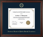 National Board of Public Health Examiners Certificate Frame - Gold Embossed Certificate Frame in Studio
