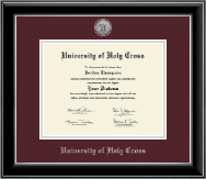 University of Holy Cross Diploma Frame - Silver Engraved Medallion Diploma Frame in Onyx Silver