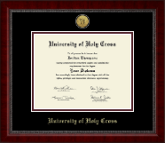University of Holy Cross Diploma Frame - Gold Engraved Medallion Diploma Frame in Sutton