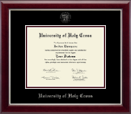 University of Holy Cross Diploma Frame - Silver Embossed Diploma Frame in Gallery Silver