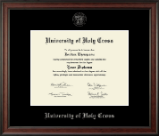 University of Holy Cross Diploma Frame - Silver Embossed Diploma Frame in Studio