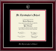 St. Christopher's School in Virginia Diploma Frame - Silver Embossed Diploma Frame in Gallery Silver