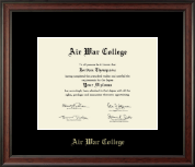 Air War College Diploma Frame - Gold Embossed Diploma Frame in Studio