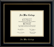 Air War College Diploma Frame - Gold Embossed Diploma Frame in Onyx Gold