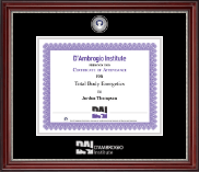 D'Ambrogio Institute Certificate Frame - Masterpiece Medallion Certificate Frame in Kensington Silver
