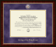College of the Holy Cross Diploma Frame - Masterpiece Medallion Diploma Frame in Murano