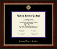 Young Harris College Diploma Frame - Gold Engraved Medallion Diploma Frame in Murano