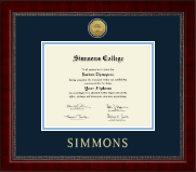 Simmons College Diploma Frame - Gold Engraved Medallion Diploma Frame in Sutton