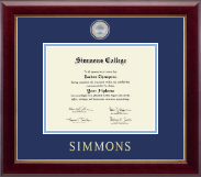 Simmons College Diploma Frame - Masterpiece Medallion Diploma Frame in Gallery