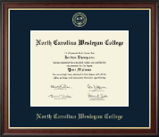 North Carolina Wesleyan College Diploma Frame - Gold Embossed Diploma Frame in Studio Gold