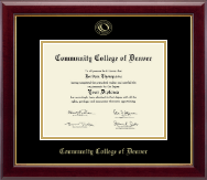 Community College of Denver Diploma Frame - Gold Embossed Diploma Frame in Gallery
