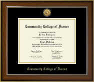 Community College of Denver Diploma Frame - Gold Engraved Medallion Diploma Frame in Westwood