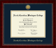North Carolina Wesleyan College Diploma Frame - Gold Engraved Medallion Diploma Frame in Sutton