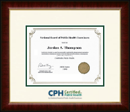 National Board of Public Health Examiners Certificate Frame - Dimensions Certificate Frame in Murano