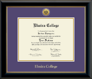 Elmira College Diploma Frame - Gold Engraved Medallion Diploma Frame in Onyx Gold