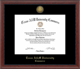 Texas A&M University - Commerce Diploma Frame - Gold Engraved Medallion Diploma Frame in Signature