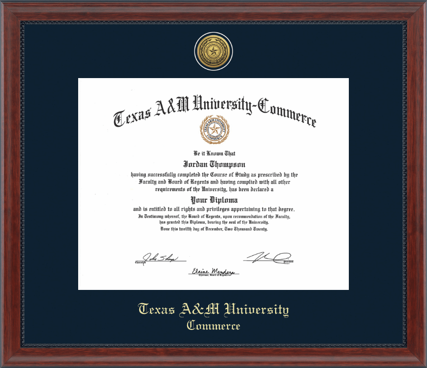 Texas A&M University - Commerce Gold Engraved Medallion Diploma ...