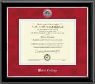 Wells College Diploma Frame - Silver Engraved Medallion Diploma Frame in Onyx Silver