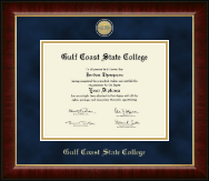 Gulf Coast State College Diploma Frame - Masterpiece Medallion Diploma Frame in Murano