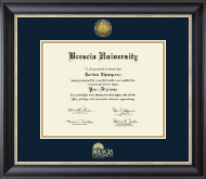 Brescia University Diploma Frame - Gold Engraved Medallion Diploma Frame in Noir