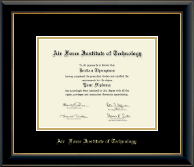 Air Force Institute of Technology Diploma Frame - Gold Embossed Diploma Frame in Onyx Gold