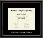 Southern College of Optometry Diploma Frame - Gold Embossed Diploma Frame in Onyx Gold