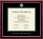 Northeastern State University Tahlequah Diploma Frame - Masterpiece Medallion Diploma Frame in Gallery Silver