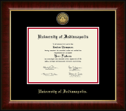 University of Indianapolis Diploma Frame - Gold Engraved Medallion Diploma Frame in Murano