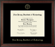 New Jersey Institute of Technology Diploma Frame - Gold Embossed Diploma Frame in Studio