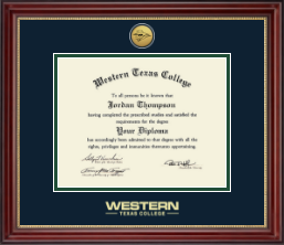 Western Texas College Diploma Frame - Gold Engraved Medallion Diploma Frame in Kensington Gold