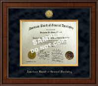 The American Board of General Dentistry Certificate Frame - Presidential Gold Engraved Certificate Frame in Madison