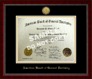 The American Board of General Dentistry Certificate Frame - Gold Engraved Medallion Certificate Frame in Sutton