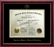 The American Board of General Dentistry Certificate Frame - Gold Embossed Certificate Frame in Gallery